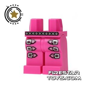 LEGO Mini Figure Legs - Pink With Silver Buckles
