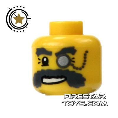 LEGO Mini Figure Heads - Bushy Moustache And Monocle