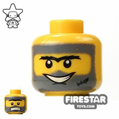 LEGO Mini Figure Heads - Gray Hair And Scar
