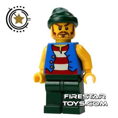LEGO Pirate Mini Figure - Pirate - Green Bandana And Moustache