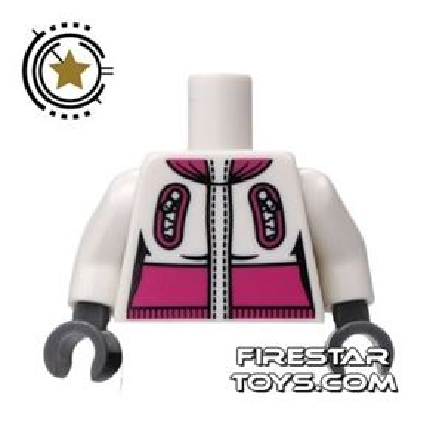 LEGO Mini Figure Torso - White And Pink Winter Jacket