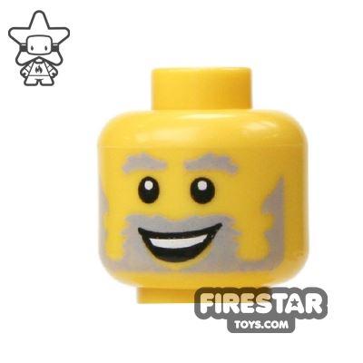 LEGO Mini Figure Heads - Gray Beard - Smiling