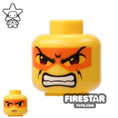 LEGO Mini Figure Heads - Orange Mask And Bared Teeth