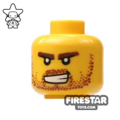 LEGO Mini Figure Heads - Stubble And Bared Teeth