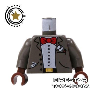LEGO Mini Figure Torso - Dark Gray Jacket - Bow Tie