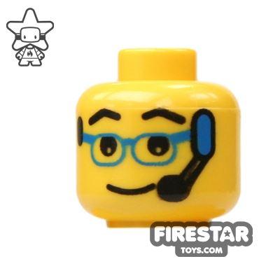 LEGO Mini Figure Heads - Blue Glasses And Headset