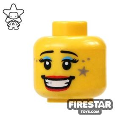 LEGO Mini Figure Heads - Big Smile - Star Makeup