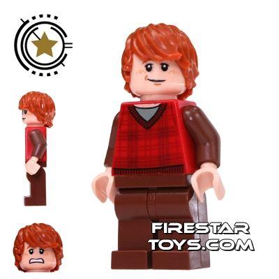 LEGO Harry Potter Mini Figure -  Ron Weasley - Tartan And Brown Legs