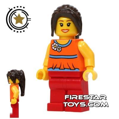 LEGO City Mini Figure - Orange Top With Flowers