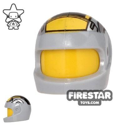 LEGO - Printed Biker Helmet - Gray and Yellow
