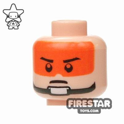 LEGO Mini Figure Heads - Stern Eyebrows - Orange Visor