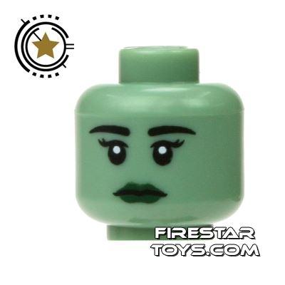 LEGO Mini Figure Heads - Female- Sand Green