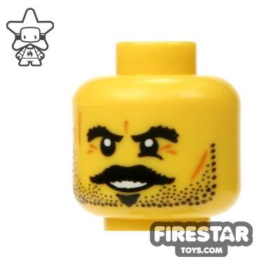 LEGO Mini Figure Heads - Black Moustache and Eyebrows