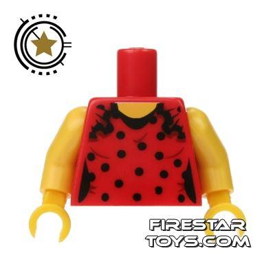 LEGO Mini Figure Torso - Red Polka Dot