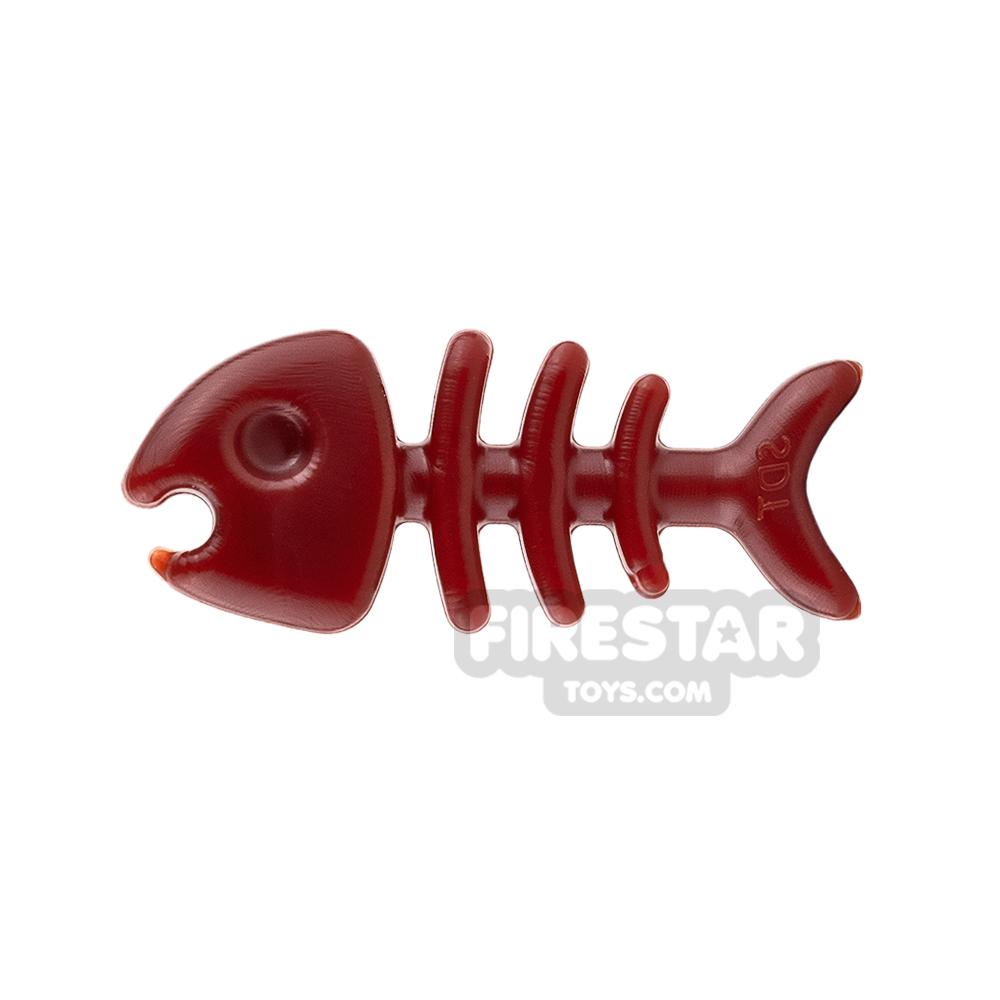 SI-DAN Animals Mini Figure - Fish Bone - Dark Red