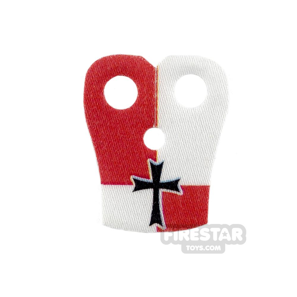 Custom Design Cape - Pauldron - Black Cross - Red and White