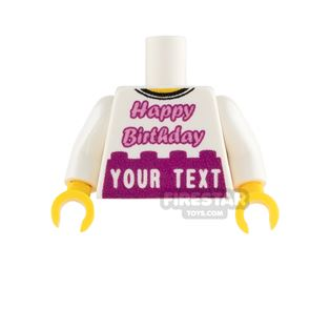 Engraved Minifigure Torso - Happy Birthday - Pink