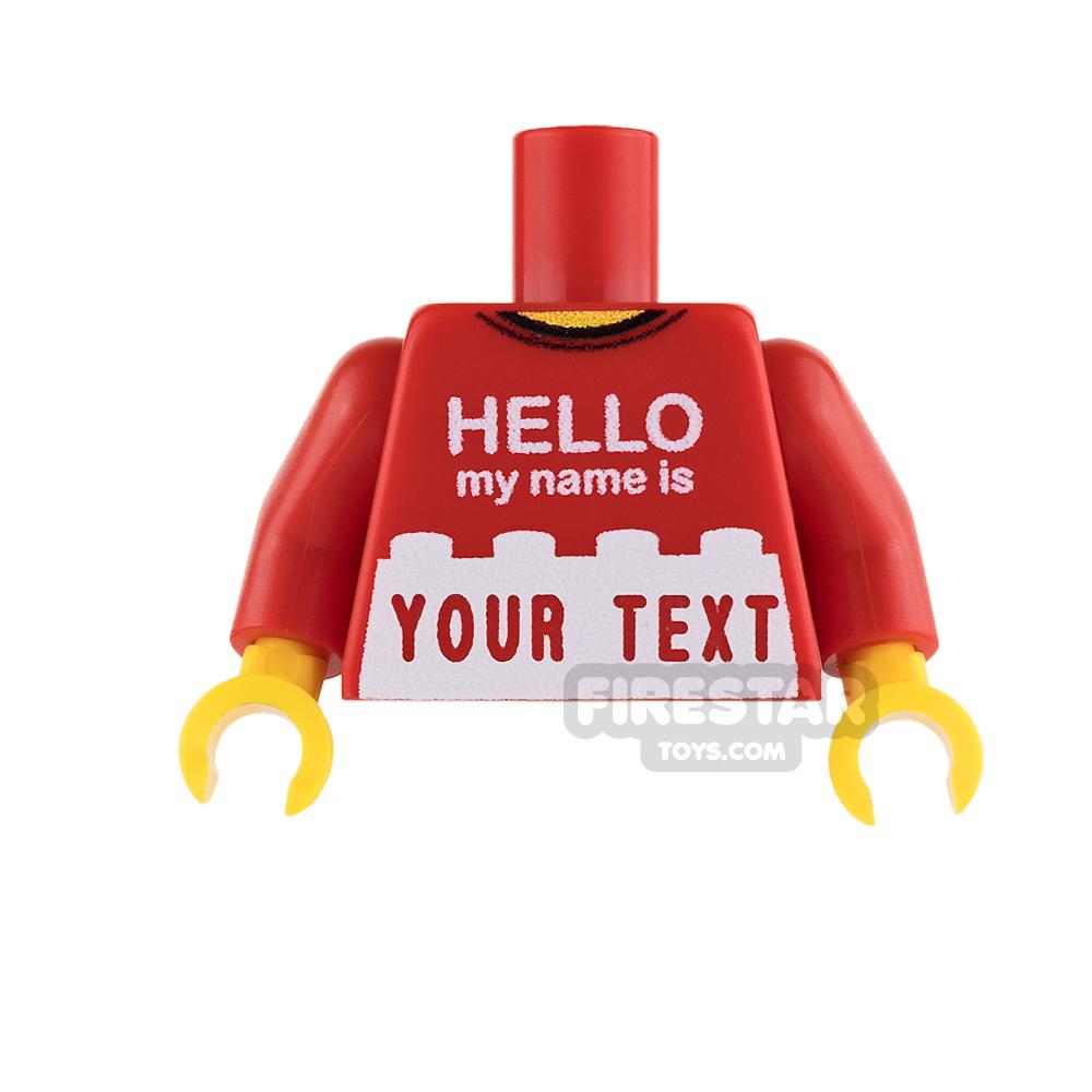 Engraved Minifigure Torso - Hello my name is