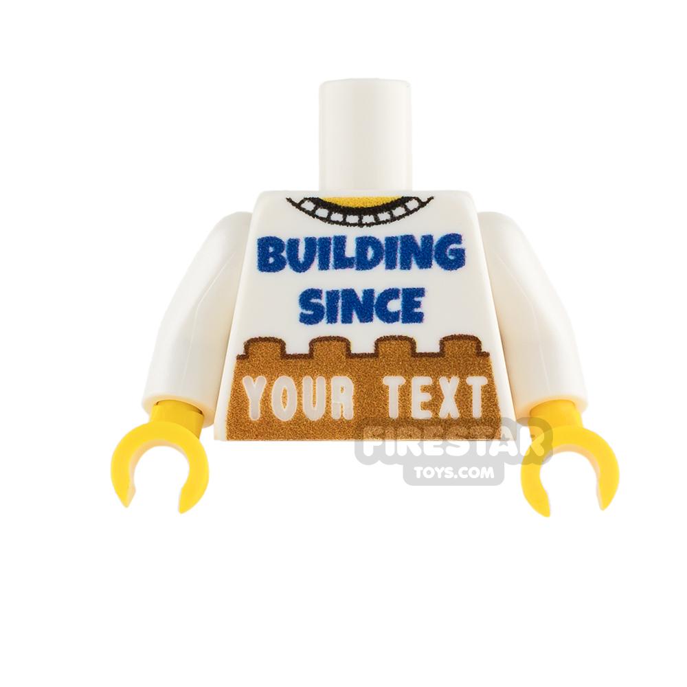 Engraved Minifigure Torso - Building Since