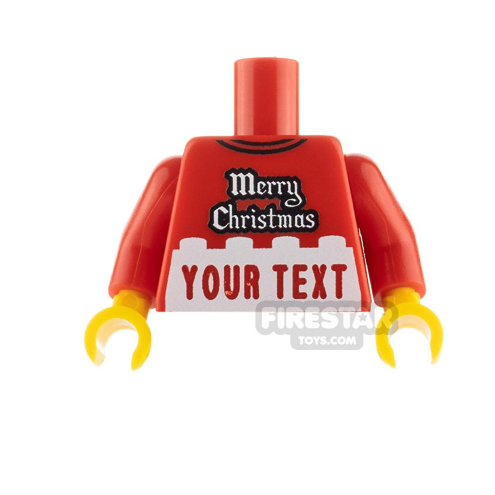 Engraved Minifigure Torso - Merry Christmas