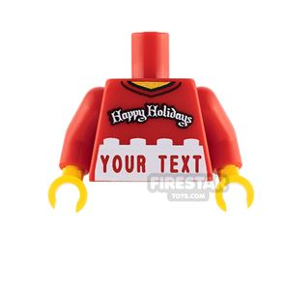 Engraved Minifigure Torso - Happy Holidays