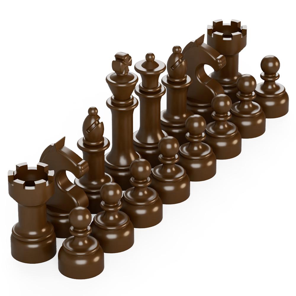 BrickMini Chess Pieces - Reddish Brown Set