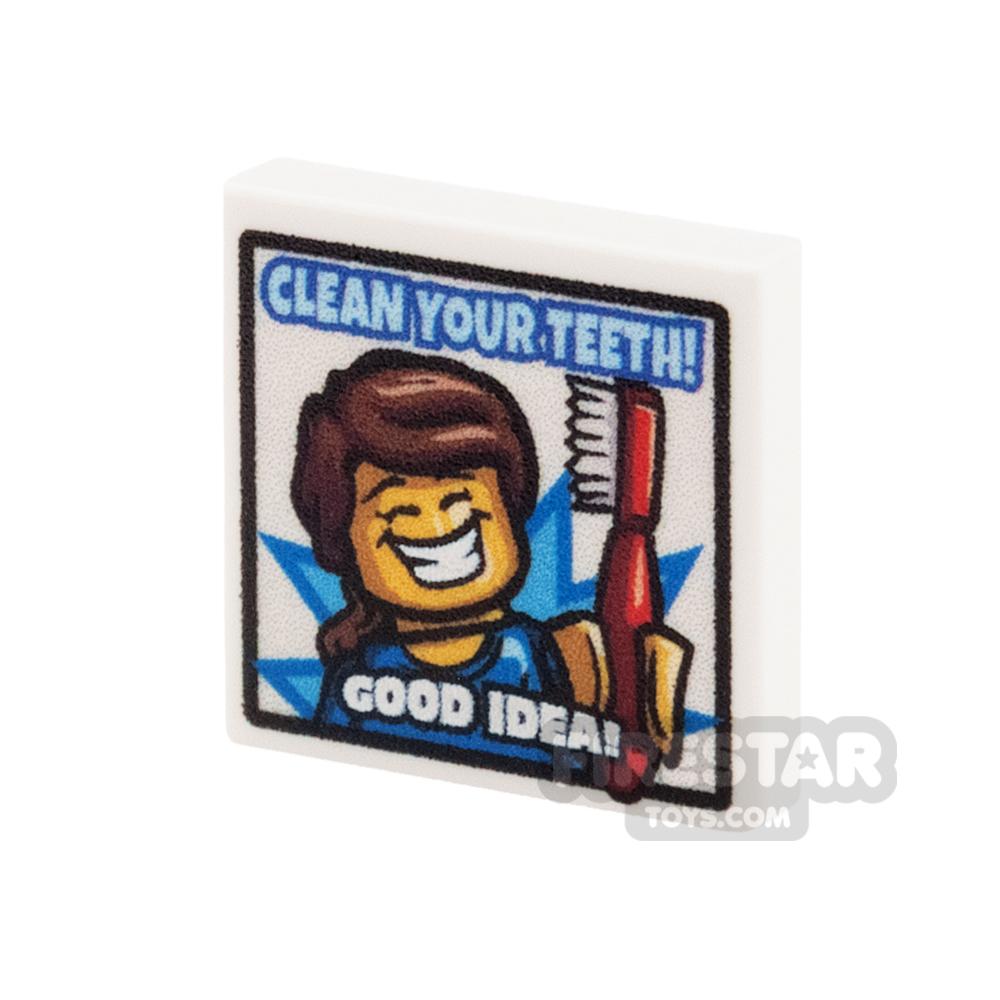 Custom Printed Tile 2x2 Clean Your Teeth Dentist Poster