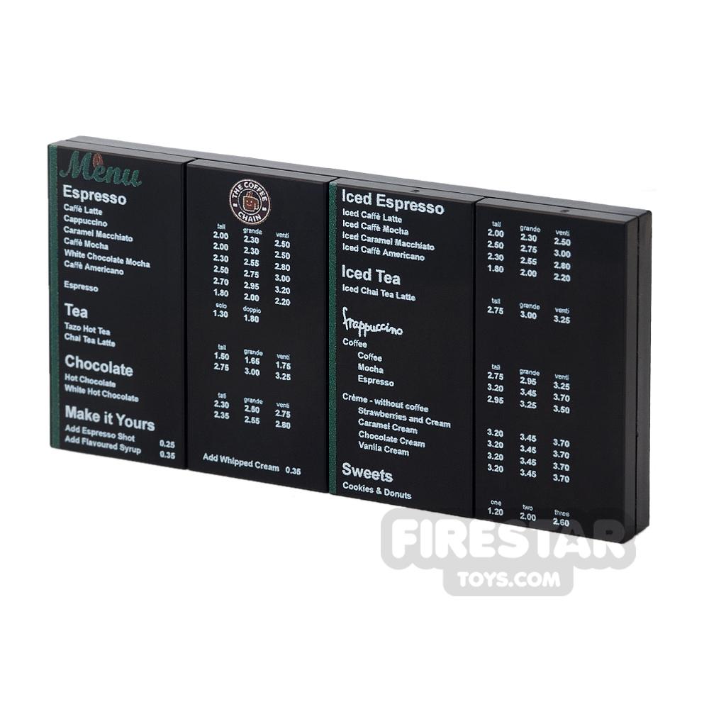 Printed Tile Set 2x4 Coffee Shop Menu Pack 4 Menus