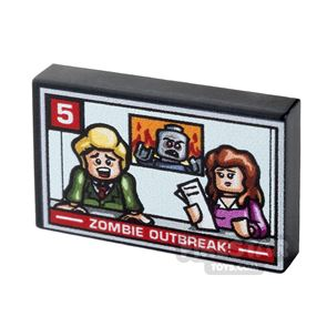 Printed Tile 2x3 - TV News Report - Zombie Outbreak