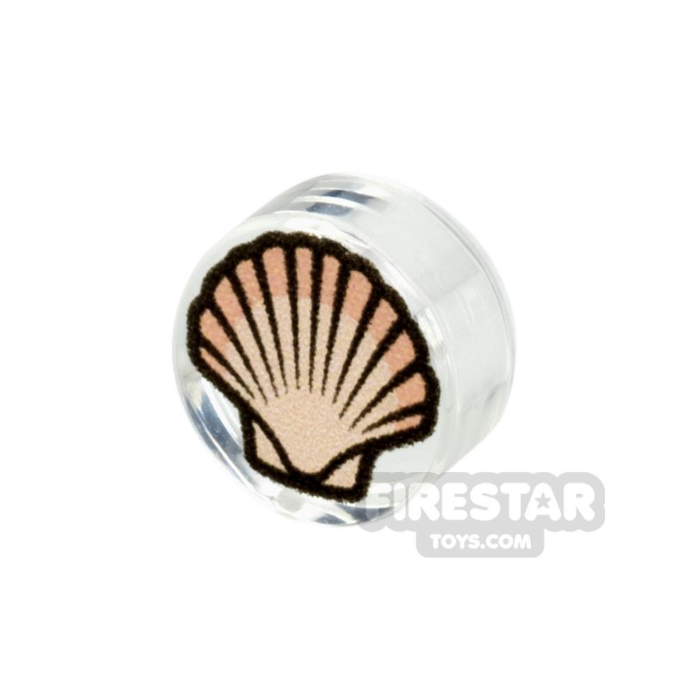 Printed Round Tile 1x1 Scallop Seashell