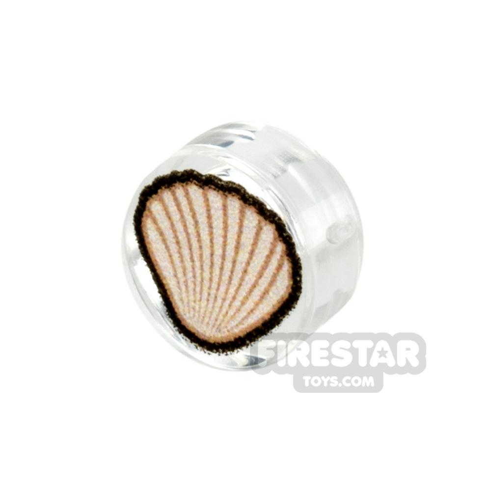 Printed Round Tile 1x1 Cockle Seashell