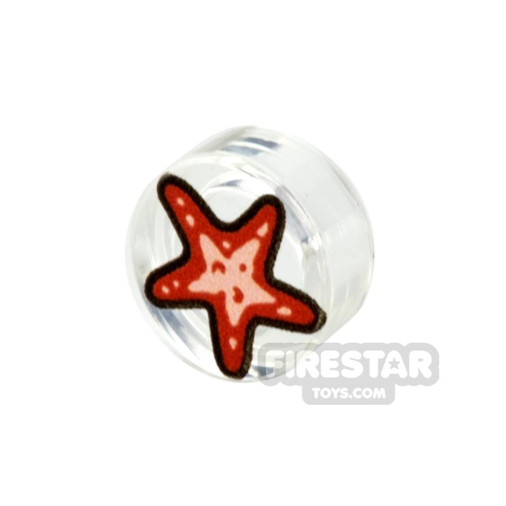 Printed Round Tile 1x1 Mini Starfish