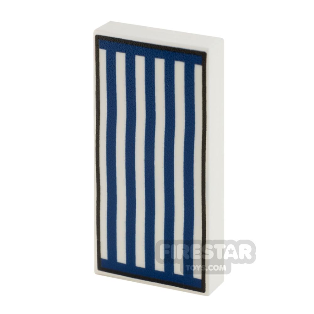 Printed Tile 2x4 Beach Towel Dark Blue Stripes