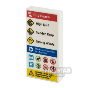 Printed Tile 2x4 Beach Information Sign