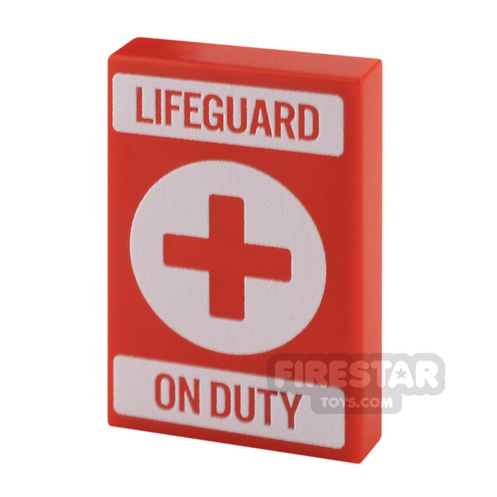 Printed Tile 2x3 Lifeguard on Duty Sign