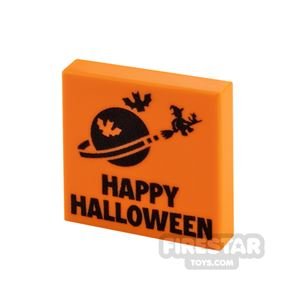 Printed Tile 2x2 Happy Halloween Classic Space Card