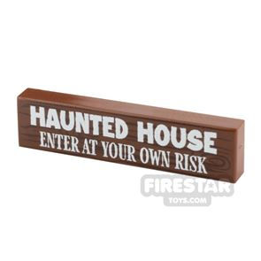 Printed Tile 1x4 Haunted House Sign