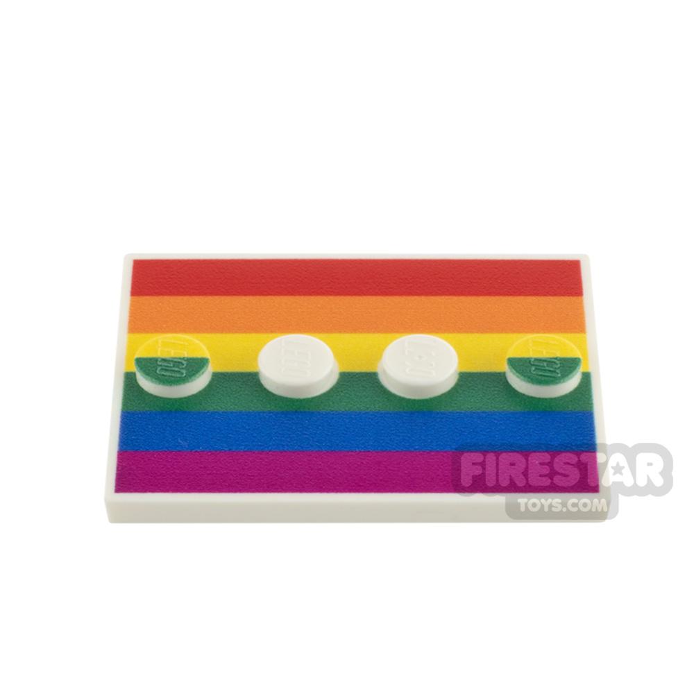 Custom Printed Minifigure Stand Rainbow Flag