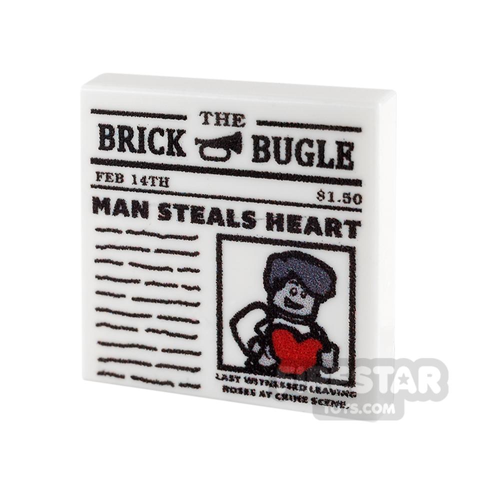 Printed Tile 2x2 - Newspaper - The Brick Bugle - Man Steals Heart