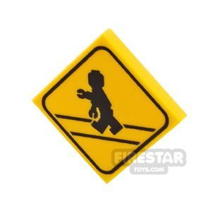 Printed Tile 2x2 - Zombie Crossing Sign