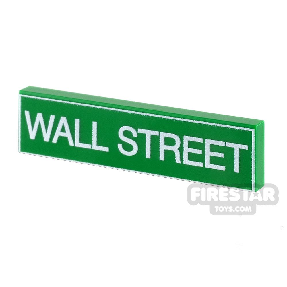 Printed Tile 1x4 - Wall Street Sign