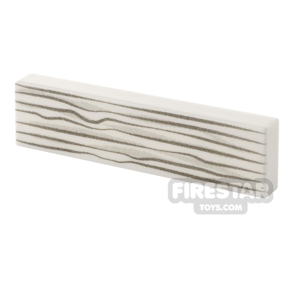 Printed Tile 1x4 - Wood Grain - White