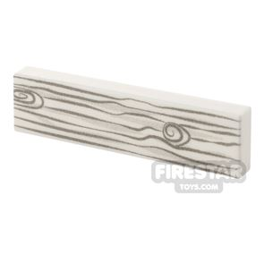Printed Tile 1x4 - Knotted Wood Grain - White