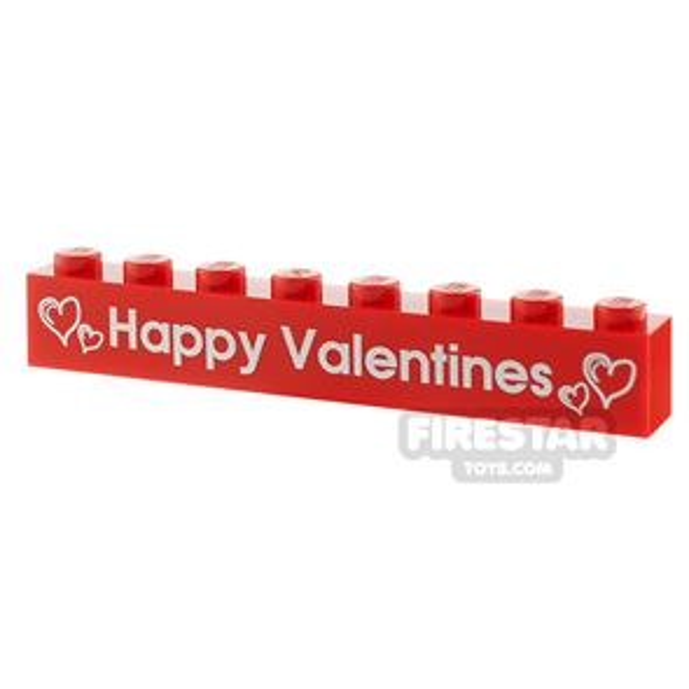 Printed Brick 1x8 - Happy Valentines