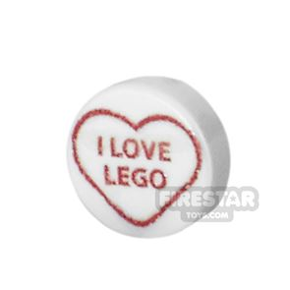 Printed Round Tile 1x1 - Brick Hearts - I Love LEGO