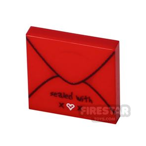 Printed Tile 2x2 - Card Envelope - With Love - Red