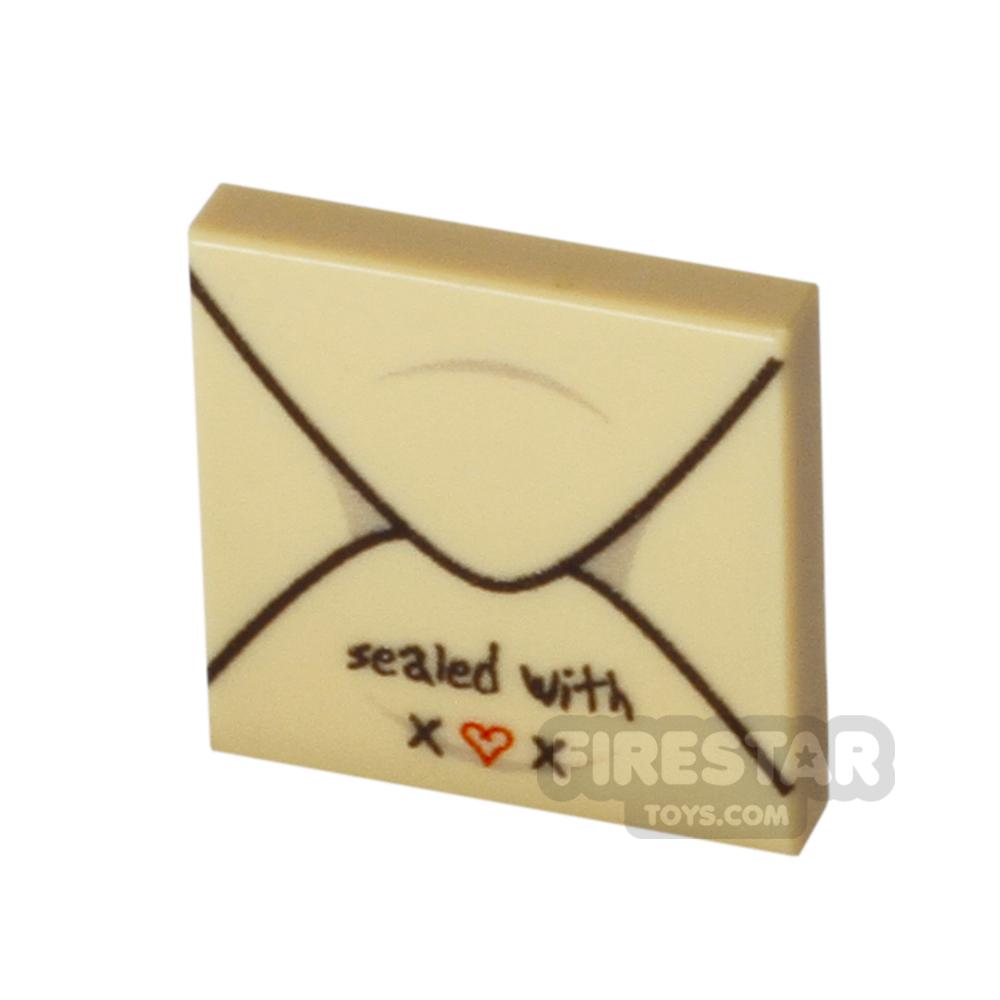 Printed Tile 2x2 - Card Envelope - With Love - Tan