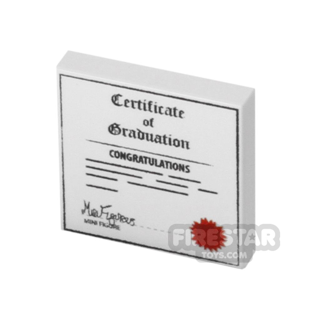 Printed Tile 2x2 - Graduation Certificate - White
