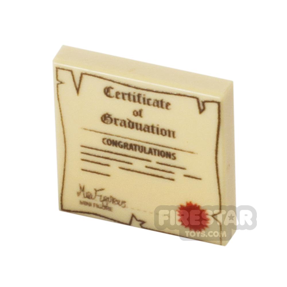 Printed Tile 2x2 - Graduation Certificate - Old/Worn - Tan