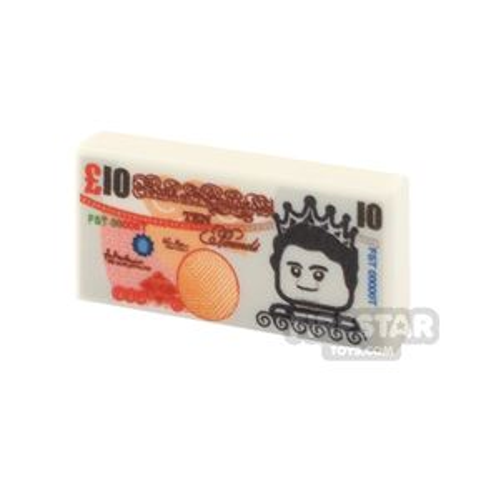 Printed Tile 1x2 - British Money - 10 Pound Note